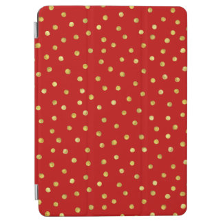 Elegant Red And Gold Foil Confetti Dots Pattern iPad Air Cover