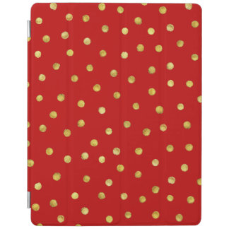 Elegant Red And Gold Foil Confetti Dots Pattern iPad Cover