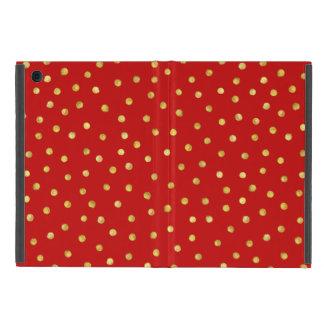 Elegant Red And Gold Foil Confetti Dots Pattern iPad Mini Case