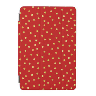 Elegant Red And Gold Foil Confetti Dots Pattern iPad Mini Cover
