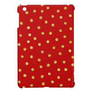 Elegant Red And Gold Foil Confetti Dots Pattern iPad Mini Covers