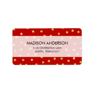Elegant Red And Gold Foil Confetti Dots Pattern Label