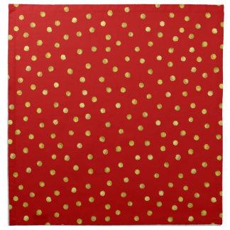 Elegant Red And Gold Foil Confetti Dots Pattern Napkin