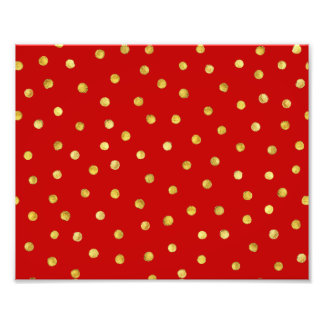 Elegant Red And Gold Foil Confetti Dots Pattern Photo Print