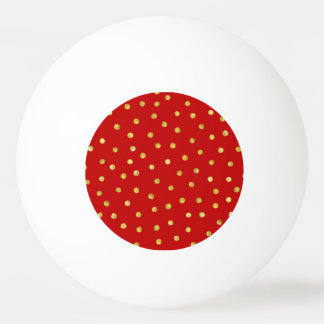 Elegant Red And Gold Foil Confetti Dots Pattern Ping Pong Ball