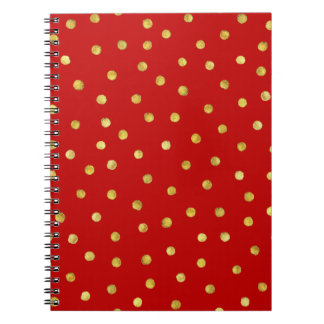 Elegant Red And Gold Foil Confetti Dots Pattern Spiral Notebook