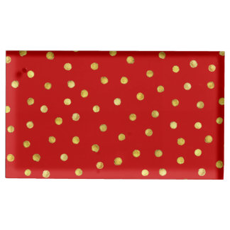 Elegant Red And Gold Foil Confetti Dots Pattern Table Card Holder