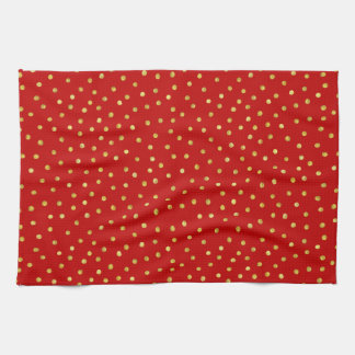 Elegant Red And Gold Foil Confetti Dots Pattern Tea Towel