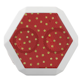 Elegant Red And Gold Foil Confetti Dots Pattern White Bluetooth Speaker