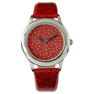 Elegant Red And Gold Foil Confetti Dots Pattern Wristwatches