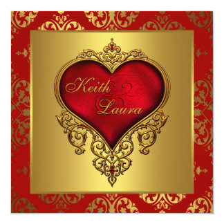 Elegant Red and Gold Heart Wedding Invitations