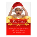Elegant Red and Gold Photo Christmas Cards