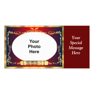 Elegant Red and Gold Photo Greeting Picture Card