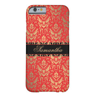 Elegant Red and Gold Shimmer Damask Custom Name Barely There iPhone 6 Case
