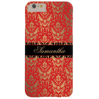 Elegant Red and Gold Shimmer Damask Custom Name Barely There iPhone 6 Plus Case