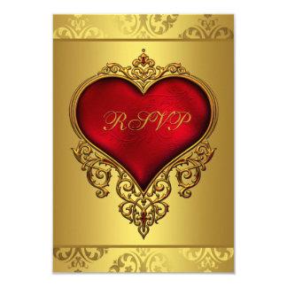 Elegant Red and Gold Wedding RSVP 9 Cm X 13 Cm Invitation Card