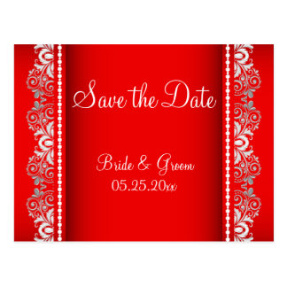 Elegant Red and Silver Lace Style | Personalize Postcard