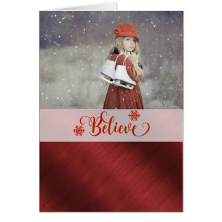 Elegant Red and White Christmas Photo Card. Card