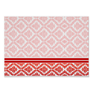 Elegant Red and white damask wedding gift Print