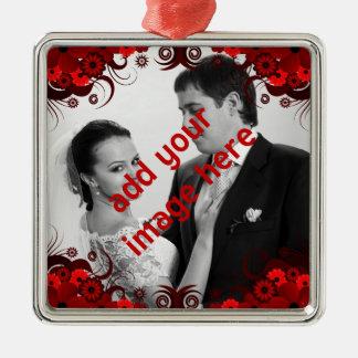 Elegant Red and White Floral Wedding Keepsake Metal Ornament