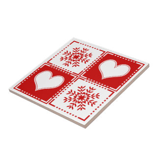 Elegant Red and White Snowflakes and Hearts Tile