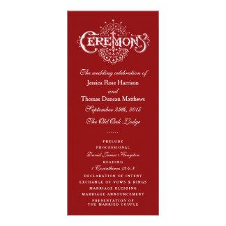 Elegant Red And White Wedding Ceremony Programs Rack Card Design