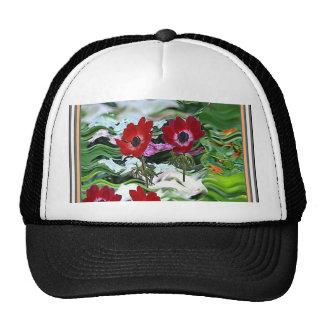 Elegant Red Anemone Flower Display on gifts fun Cap