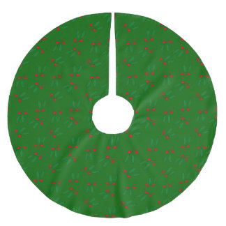 Elegant Red Berries & Green Leaves Print Holiday Brushed Polyester Tree Skirt
