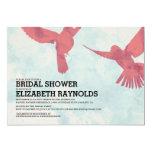 Elegant Red Bird Bridal Shower Invitations