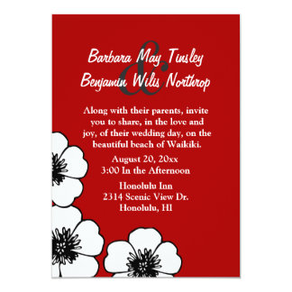Elegant Red, Black and White Wedding Invitation
