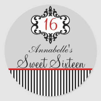 Elegant Red & Black Chic Sweet 16 Sticker