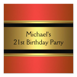 Elegant Red Black & Gold Metal 21st Birthday 13 Cm X 13 Cm Square Invitation Card