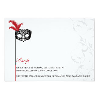 Elegant Red Black Masquerade Information Card