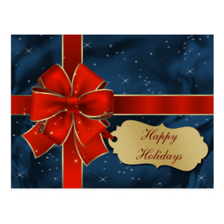 elegant red blue Corporate Holiday Greeting Postcard