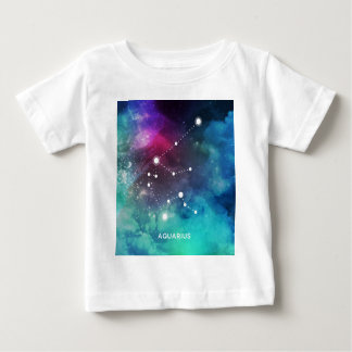 Elegant Red Blue Watercolor Nebula Aquarius Baby T-Shirt