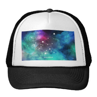 Elegant Red Blue Watercolor Nebula Aquarius Cap