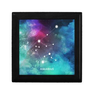 Elegant Red Blue Watercolor Nebula Aquarius Small Square Gift Box