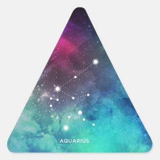 Elegant Red Blue Watercolor Nebula Aquarius Triangle Sticker