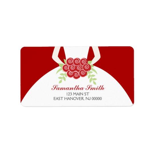 Elegant Red Bridal Shower Address Label