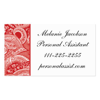 Elegant Red Brocade border business card