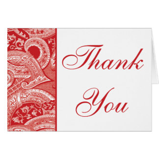 Elegant red Brocade border Thank you note card