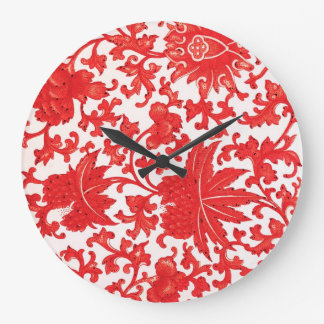 Elegant Red Chinese Floral Clock