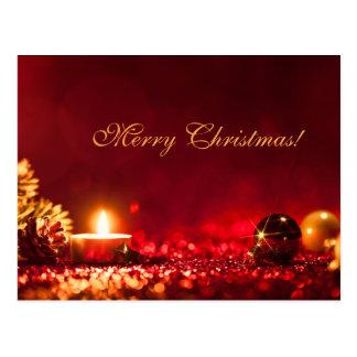 Elegant Red Christmas Candle OrnamentGreeting Card Postcard