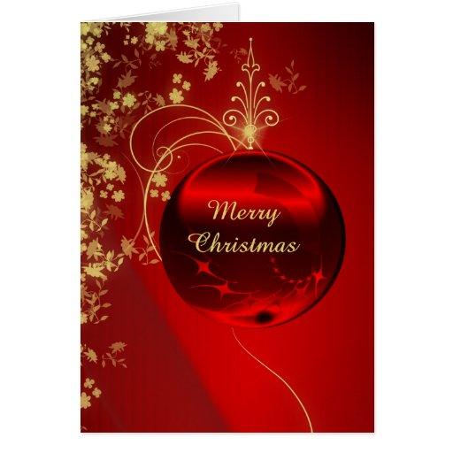 Elegant Red Christmas Ornament Greeting Card