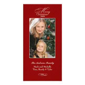 Elegant Red Christmas Photo Card