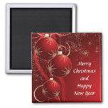 Elegant Red Christmas Square Magnet