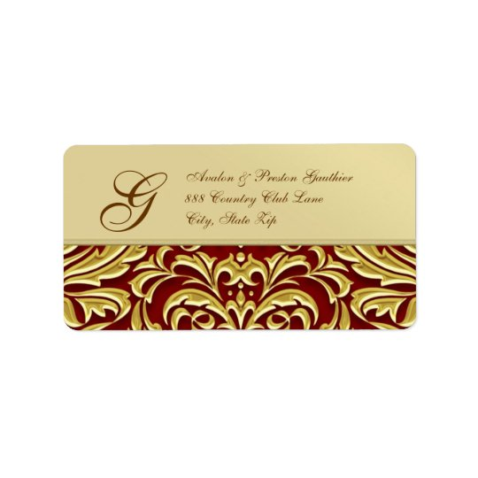 Elegant Red Damask Gold Metal Address Label