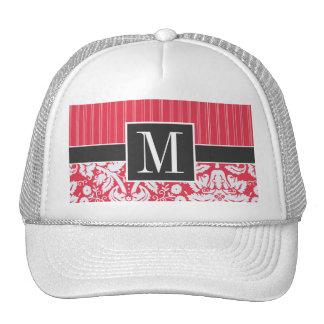 Elegant Red Damask Trucker Hats