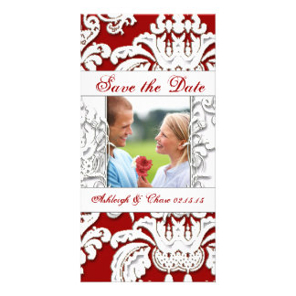 Elegant Red Damask Save the DateYour Photo Custom Photo Card