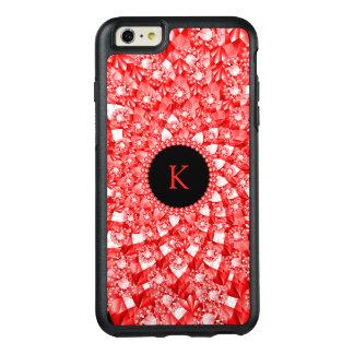 Elegant Red Diamonds Geometric Pattern Monogram OtterBox iPhone 6/6s Plus Case